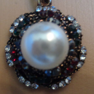 LOVELY VINTAGE PEARL MULTI STONE NECKLACE ANTIQUE